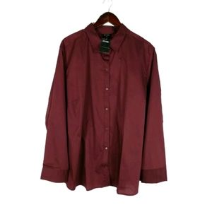 NWT George burgundy long sleeve button up shirt